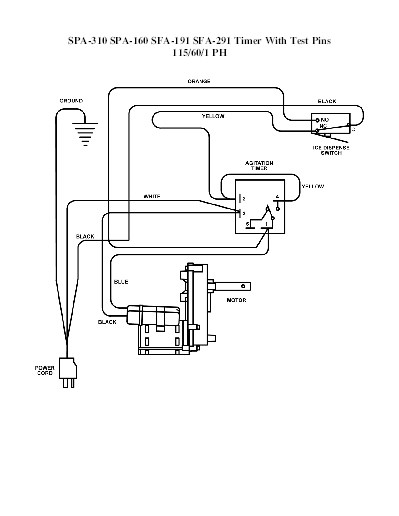 manitowoc ice product spa310 sfa291 spa160 sfa191 115v 60hz 1ph test pin timer wiring diagram